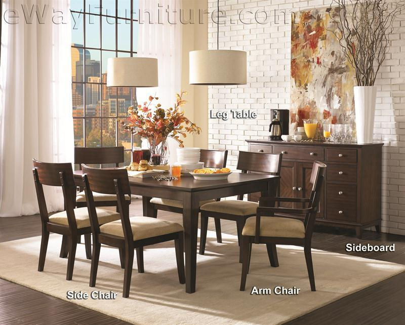 metropolitan mahogany 7pc dining room table set