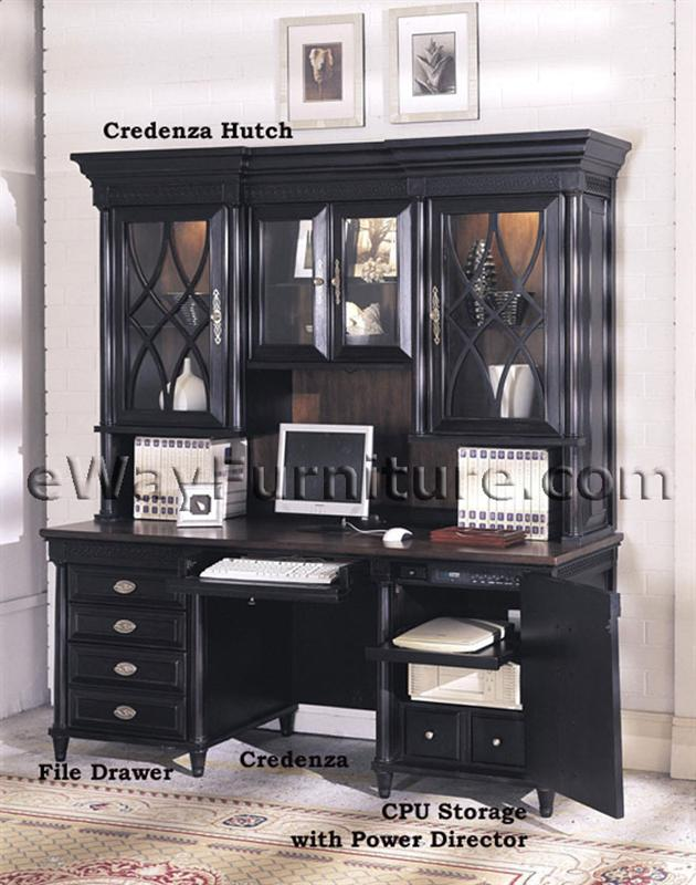 American federal black computer credenza and hutch for Furniture in federal way