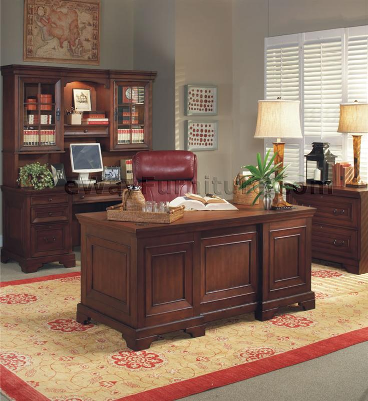 Office Collections: Warm Cherry Executive Desk Home Office Collection