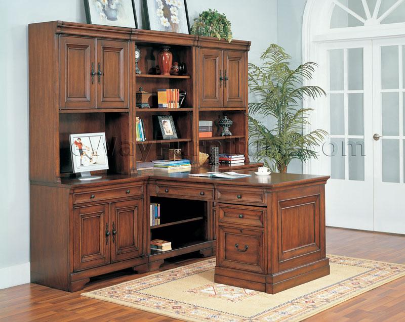 Warm cherry executive modular home office furniture set for Home office furniture images