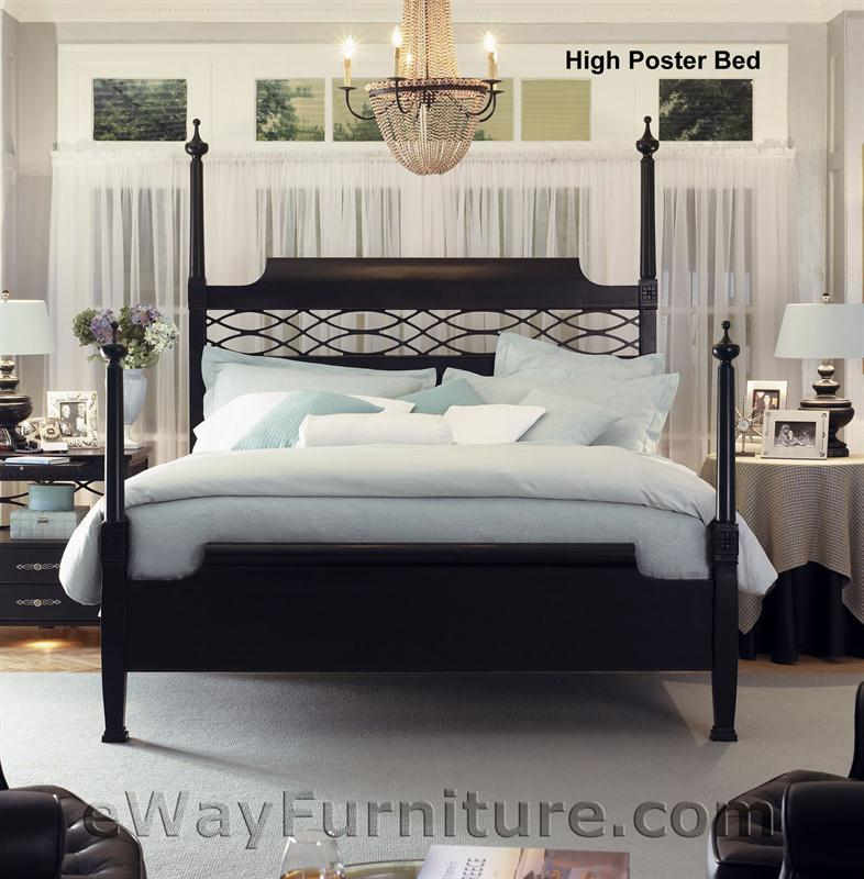 New american federal king black wood four poster bed bedroom furniture ebay for King four poster bedroom sets