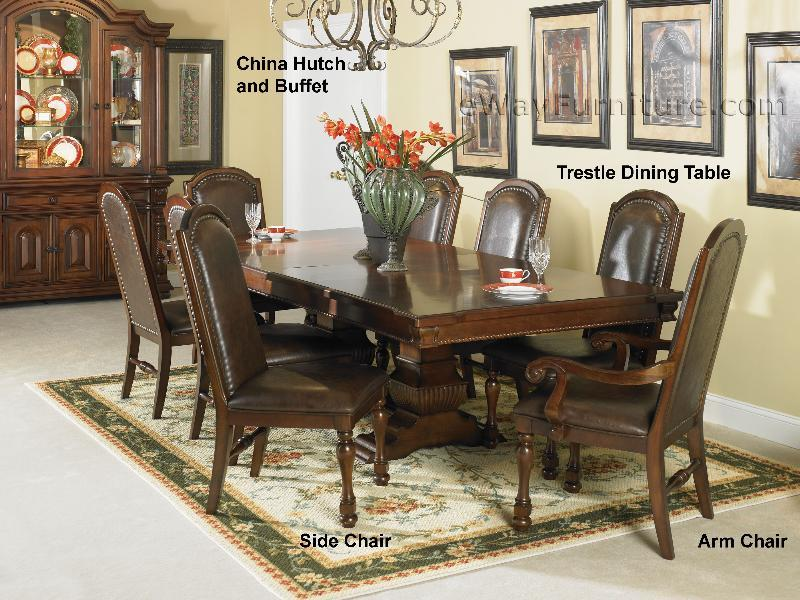 Hacienda trestle dining room table set for Trestle dining room sets