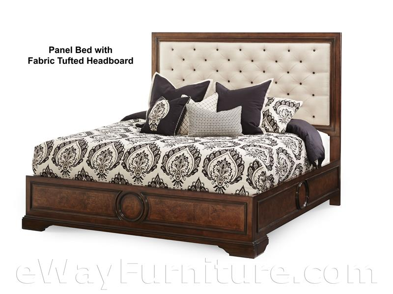 bella cera panel bed with fabric tufted headboard bedroom set