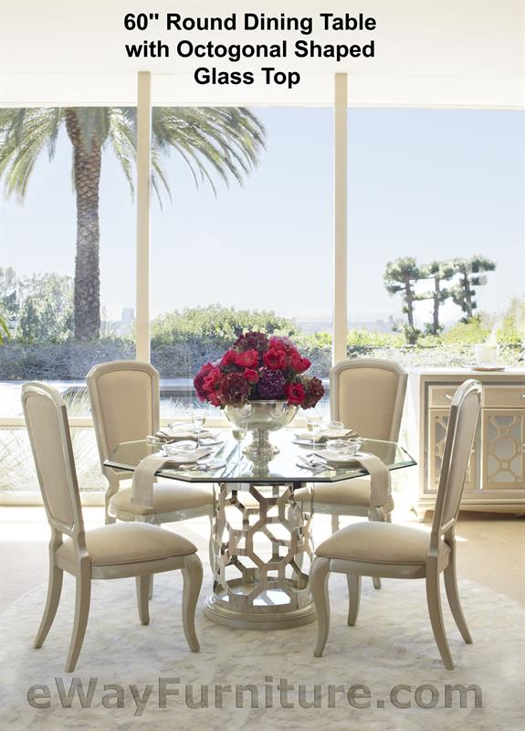 60 Round Dining Table With Octagonal Shaped Glass Top In Pearl