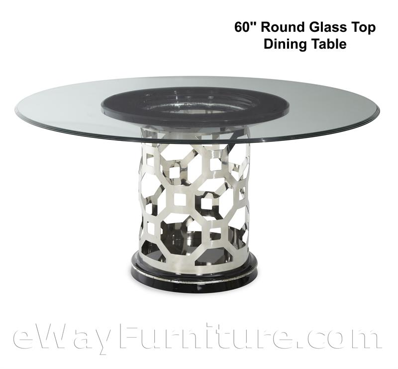 Round Glass Top Dining Table Set In Titanium