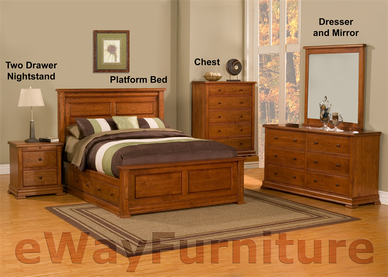 Traditional Solid Cherry Platform Storage Bedroom Set