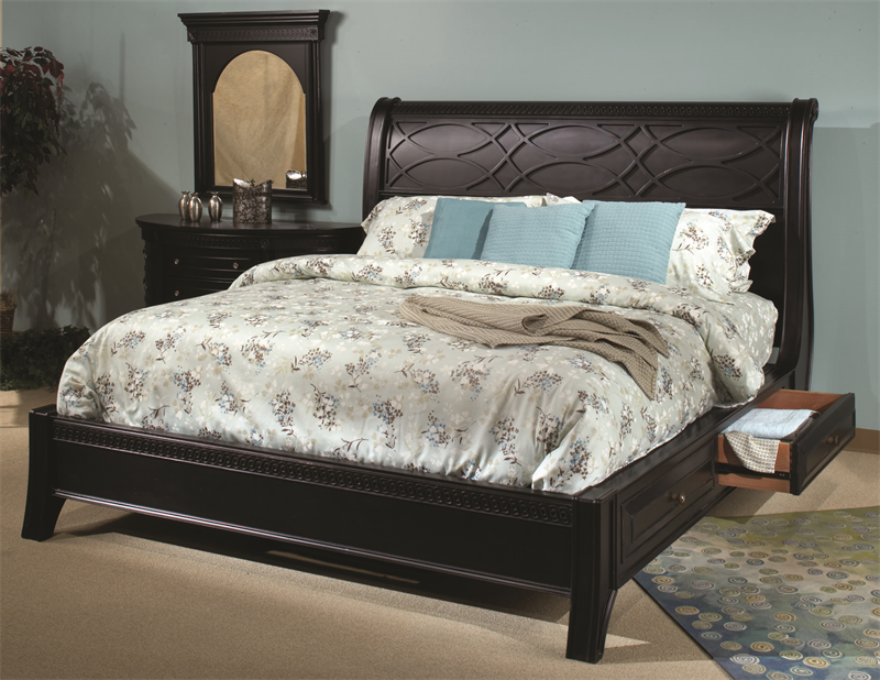 American Federal Black Storage Sleigh Master Bedroom Set