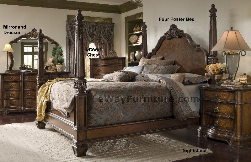 queen four poster bed title versailles four poster bedroom set wood