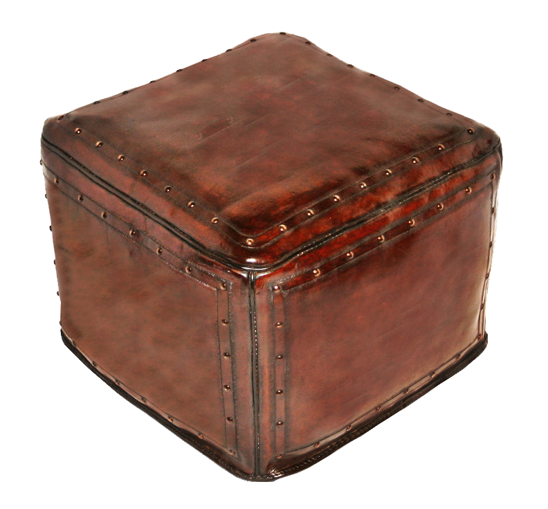 Tooled Leather Large Square Ottoman With Tacks In Antique
