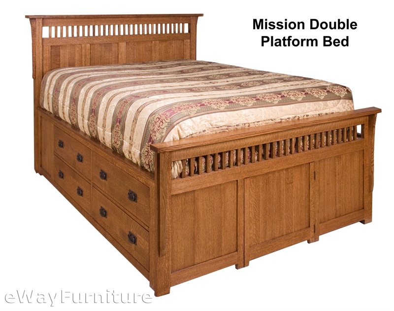 Rift And Quarter Sawn Oak Mission Double Platform Bed Bedroom Set