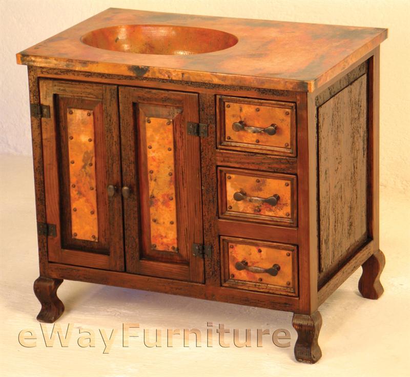 Copper Bathroom Vanity: Medium Rustic Wood Sink Cabinet W/ Hand Hammered Copper