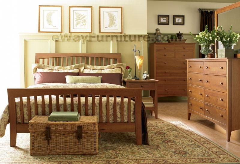 Solid Cherry Wood Sleigh Bedroom Set