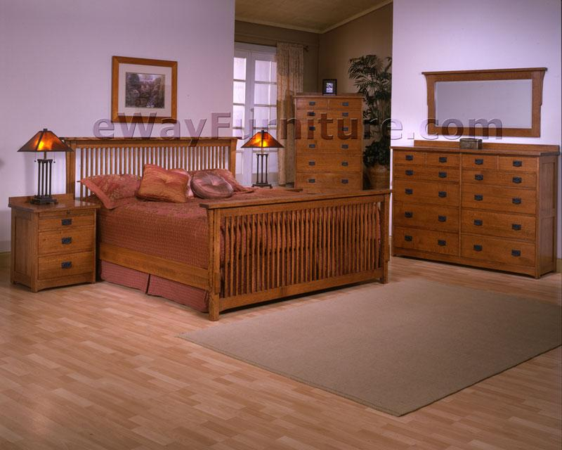 MISSION STYLE SOLID RIFT AND QUARTER SAWN OAK WOOD KING BEDROOM