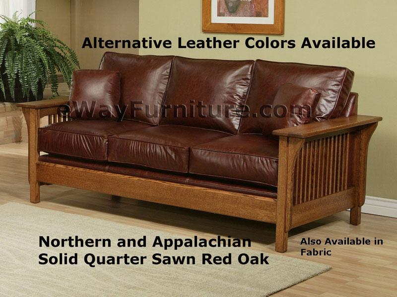 Captivating American Made Mission Style Rift And Quarter Sawn Oak Leather Sofa  Collection