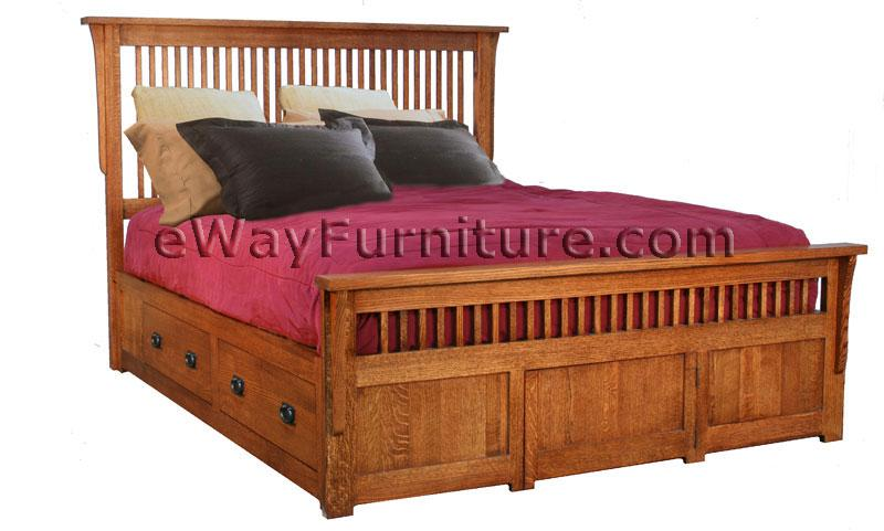 Solid Oak Mission Spindle Storage Bedroom Set