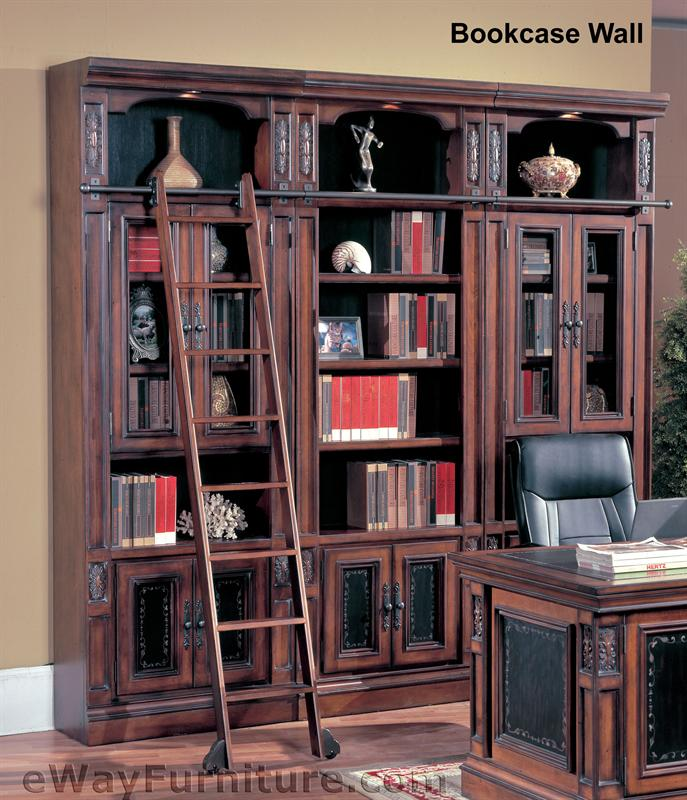 parker house davinci library bookcase wall with ladder