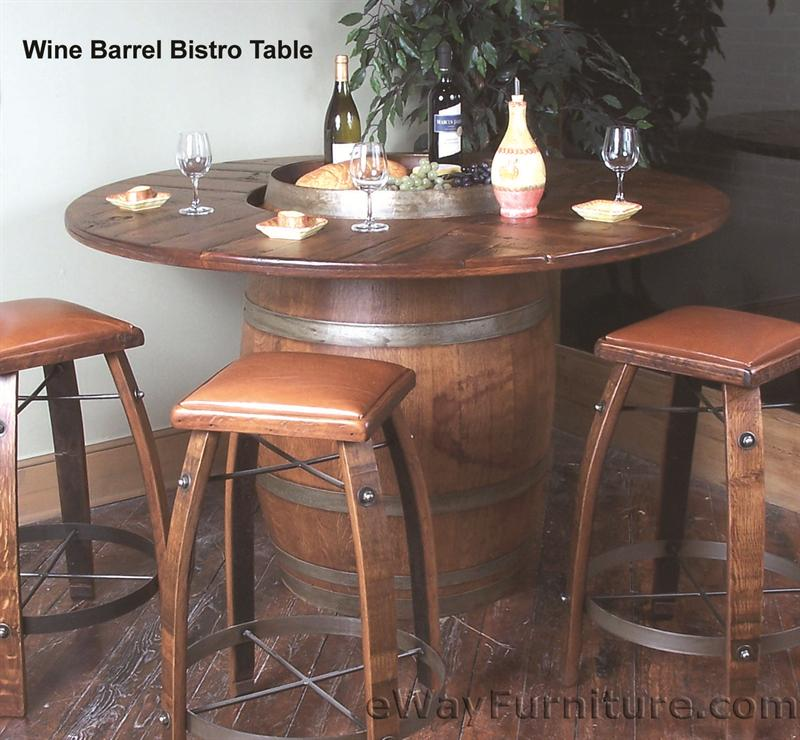 Oak wine barrel bistro table set for Table for two