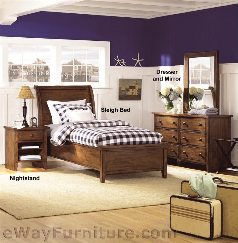 Brighton Low Profile Twin Sleigh Bedroom Set