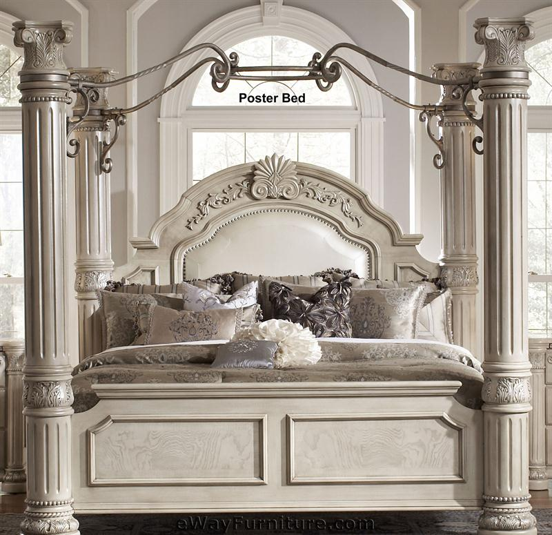 silver pearl four poster bedroom set with iron canopy
