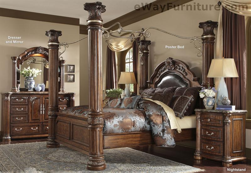 Cafe Noir Four Poster Bedroom Set with Iron Canopy