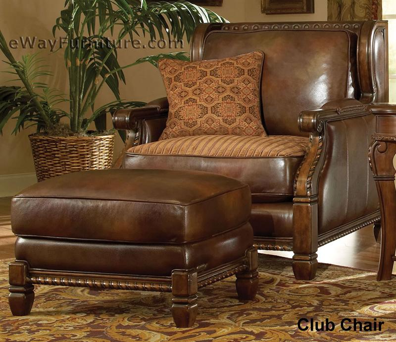 Wood Trim Leather Chair Ottoman