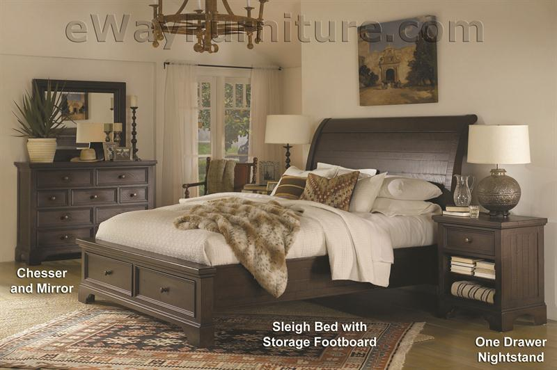New Country Solid Wood Storage Sleigh Bed Bedroom Set